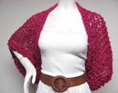 Dark Fuchsia Hand Knit Crochet Sweater Shrug