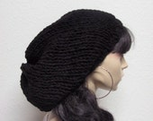 Hand Knit women hat, men hat, Chunky Slouchy Beanie Hat carbon black
