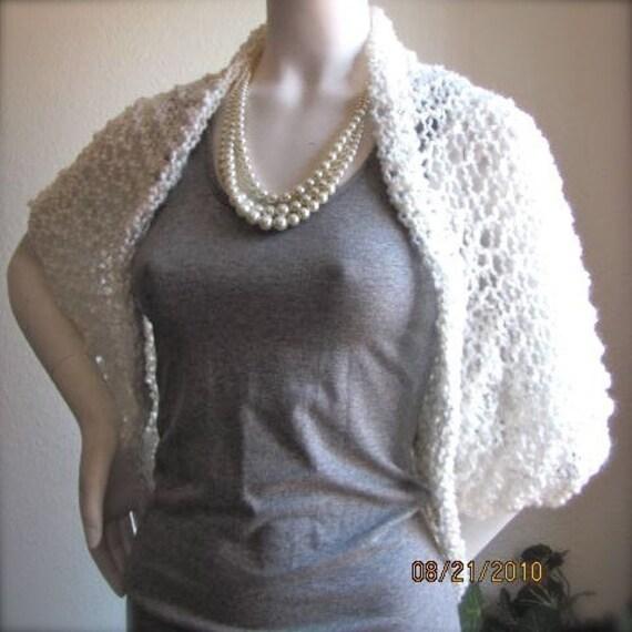 White Fluffy Clouds White Hand Knit Crochet Sweater Shrug