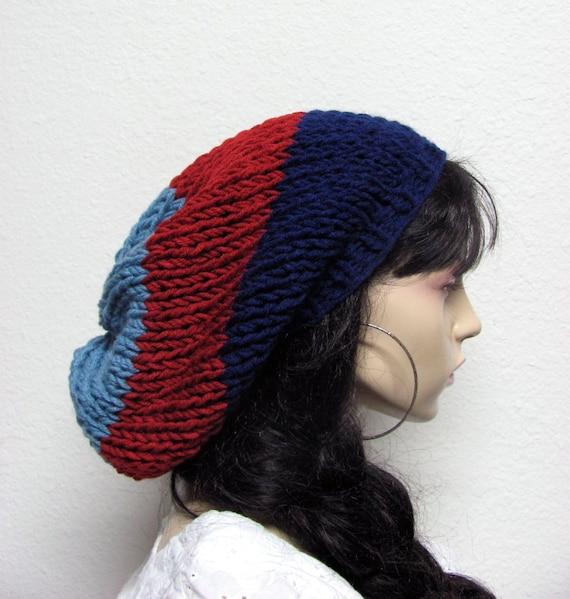 Hand Knit Slouchy Chunky Beanie Hat Navy Autumn Red Denim Blue / women hat / men hat