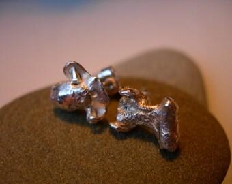 Sterling Silver Earrings Molten Parts In 10mm