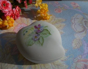 Heart Shaped Trinket Box Violets Handpainted Vintage