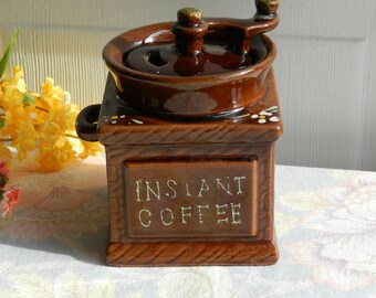Ceramic Coffee Mill Instant Coffee Canister Vintage