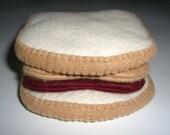 Peanut Butter & Strawberry Jelly Sandwich - felt play food