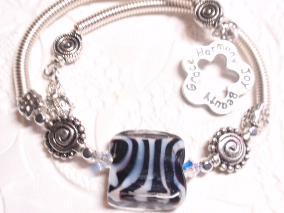 Zebra Black and White Memory Wire Bracelet with Charms and Black Coils.