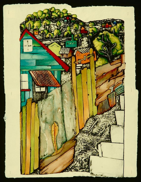 STAIRS TO OVEJERIA I, Collagraph Print on hand made paper, 17 X 24, Limited Edition 7/60, by Candice Ashment