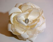 Ivory Satin and Organza Fabric Flower with Round Crystal Center