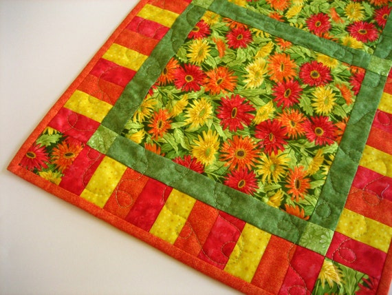 Colorful Flowers Handmade Table Runner