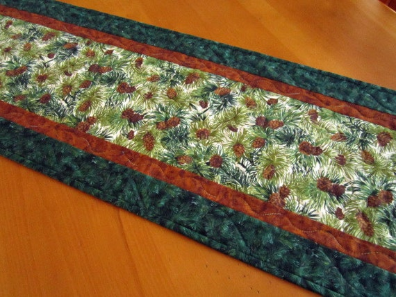 Quilted Table Runner Pine Cones