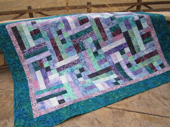 Handmade Quilt Teal and Purple Batik , Quilted Throw, Patchwork Quilt