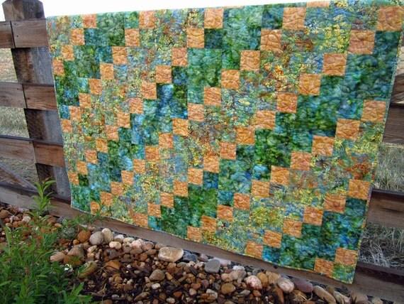 Handmade Batik Quilt Meadows, Patchwork Quilt, Lap Quilt