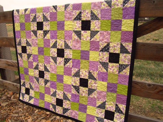 Handmade Quilt Purple, Lap Quilt, Wall Quilts, Patchwork Quilt, Geometric