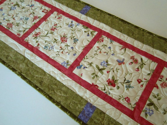 Quilted Table Runner, Table Runners, Flowers and Vines Table Runner