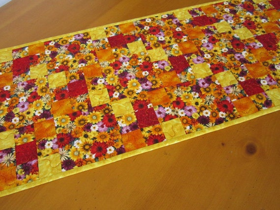 Handmade Quilted Table Runner Flowers Homemade Patchwork