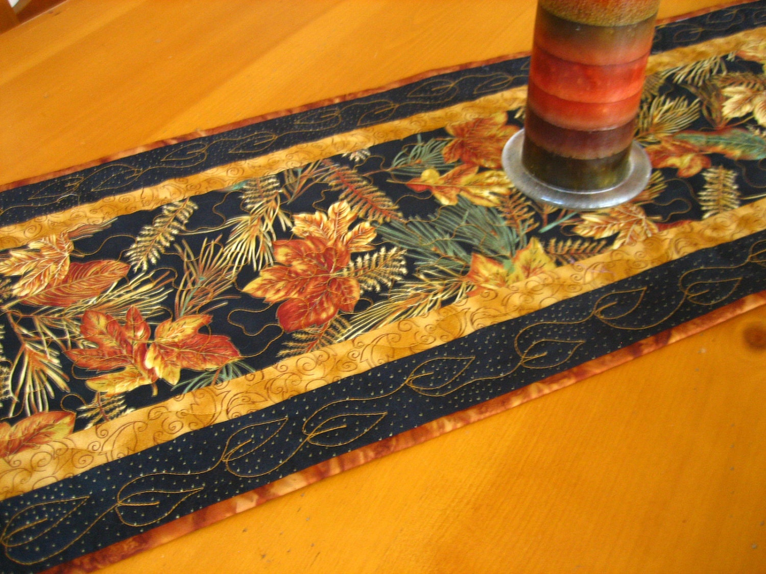 border Table on Etsy runner PatchworkMountain  Pine using Mountain by fabric table Runner RESERVED