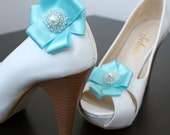 Handmade Turquoise Blue  Beady Bow   Shoes Clips  2 PCS Bridal Bridesmaids shoe ornament