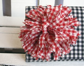 Clutch Checked Black and White Clutch with Red Rose Handmade Mothers Day Gift