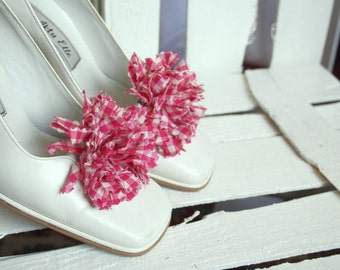 Handmade Gingham Pink  And White Shoes Clips Handmade  2 PCS
