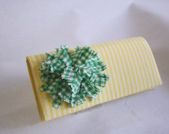 Clutch Checked Yellow  Clutch with Green Flower Handmade