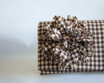 Clutch Checked Brown  Clutch with Flower Handmade