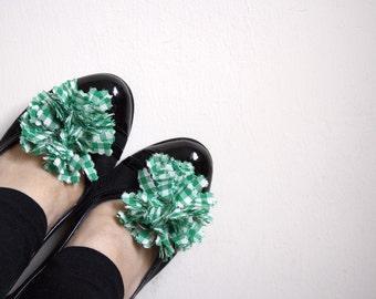 Green Gingham Shoe Clips 2 PCS Handmade