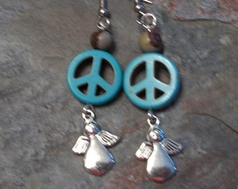 Angel Earrings,  Peace Sign Earrings, Turquoise, Made for an Angel, Jewelry by Brendas Beading on Etsy