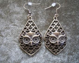 Owl Earrings, Bronze Owl Earrings, by Brendas Beading on Etsy