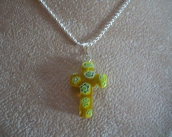 Millefiori, Small Cross Necklaces, Green or Yellow, by Bendas Beading on Etsy