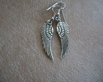 Silver Angel Wings Earrings, Bird Wing Earrings,   by Brendas Beading on Etsy