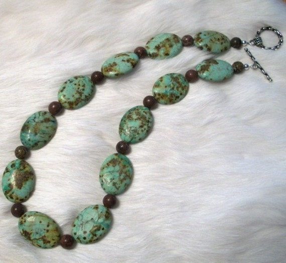 Turquoise Jasper Necklace,   Jewelry by Brendas Beading on Etsy