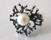 Treasure Of The Sea - Oxidized Sterling Silver Statement Ring - Lustrous 10mm Pearl, Adjustable