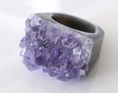 Amethyst Geode Ring - 'The Girl From Ipanema - Many Sizes Available