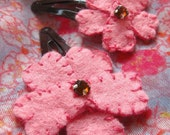 2 Pink Blossom Hairclips Brown with Orange Brown Rinestone
