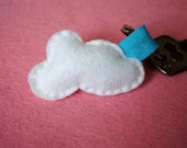 Cloud Keychain white and blue