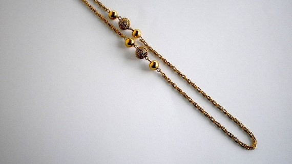 Vintage Goldtone Rope or Lariet Length Necklace with Gold Beads-1970's