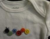 Button Caterpillar Bodysuit 3-6 Month