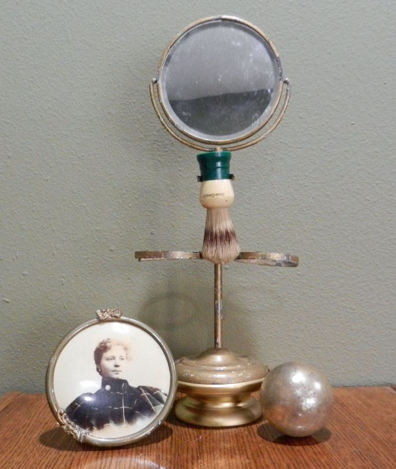 Antique Shaving Stand With Mirror and Cup Holders
