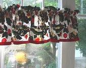 Vintage Print Kitchen Curtain Valance, cotton, red green, apples, trees, nature
