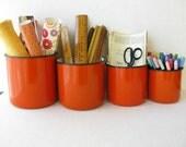 Vintage Orange Enamel Storage Containers