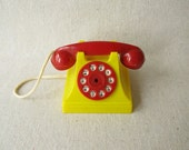 Vintage Toy Phone Plastic  Red Yellow