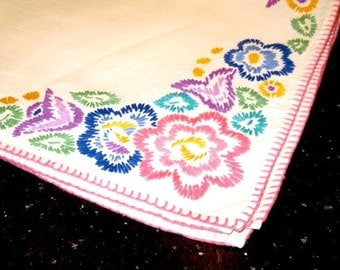 Vintage Embroidered  Square Tablecloth, pastel, floral, flowers, pink