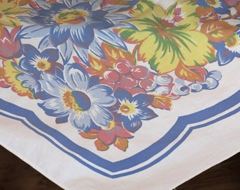 Vintage Floral Tablecloth, cotton, Pastel