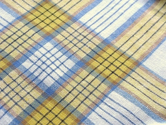 Vintage Yellow And Blue Plaid Tablecloth