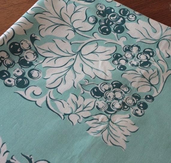 Aqua Floral Tablecloth Napkin Set