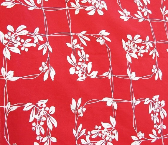 Vintage Red Print Tablecloth