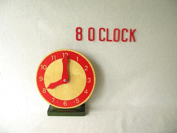 Vintage Wood Toy Clock