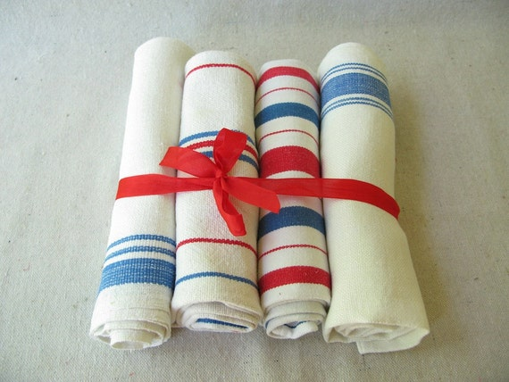 Vintage stripe Tea Towels red white blue