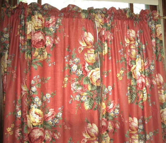 Reserved for Kerry Vintage Curtains Chintz Cabbage Rose
