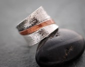 Sterling Silver and Copper Tri Colored Band Ring, Mixed Metal Rings, Silver Wedding Bands, Jewelry By Naomi, Textured Wide Band Rings, Gift