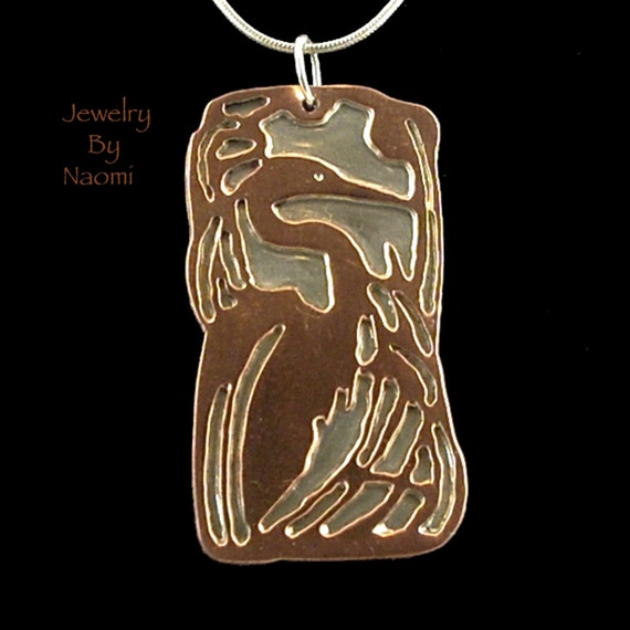 Sterling Silver and Copper Heron Necklace